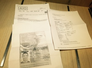 Accidents happen, travel insurance through AIG Travel Guard. Came recommended via past travel agents. Passpot Copies incase I do end up at the Embassy Flight itinerary... self explanatory.